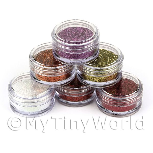 Dolls House Miniature  | High Quality Nail Art Glitter - 6 x 2g Mixed Pot Set 4