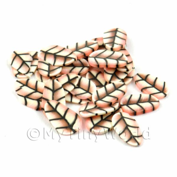 50 Pale Red Leaf Cane Slices - Nail Art (DNS04)