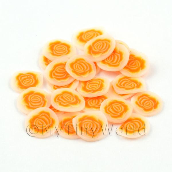 Dolls House Miniature  | 50 Orange Rose Flower Cane Slices - Nail Art (DNS36)