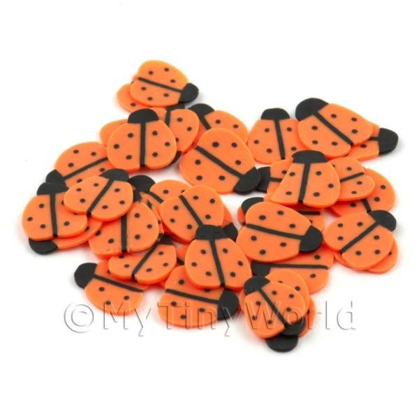 50 Handmade Orange Ladybird Cane Slices (DNS52)