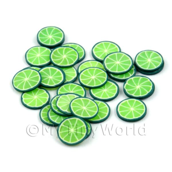 50 Handmade Lime Nail Art Cane Slices - Style 2 - Nail Art (DNS54)
