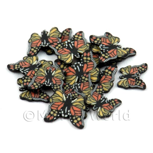50 Orange Flying Butterfly Cane Slices - Nail Art (DNS14)