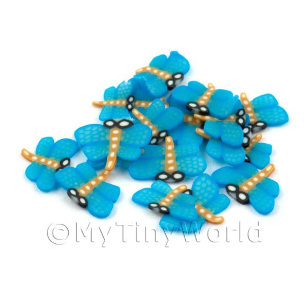 Dolls House Miniature  | 50 Blue Dragonfly Cane Slices - Nail Art (DNS19)