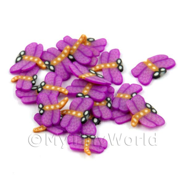 50 Purple Dragonfly Cane Slices - Nail Art (DNS27)