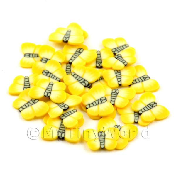 Dolls House Miniature  | 50 Yellow Butterfly / Moth Cane Slices - Nail Art (DNS29)
