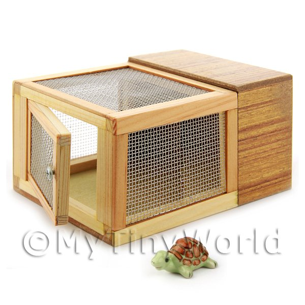 Dolls House Miniature Wooden Hutch With Green Tortoise