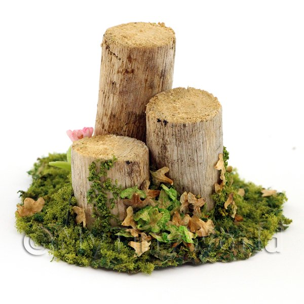 1/12 Scale Dolls House Miniatures  | A Handmade Spring Garden Scene With Bark-less Tree Stumps