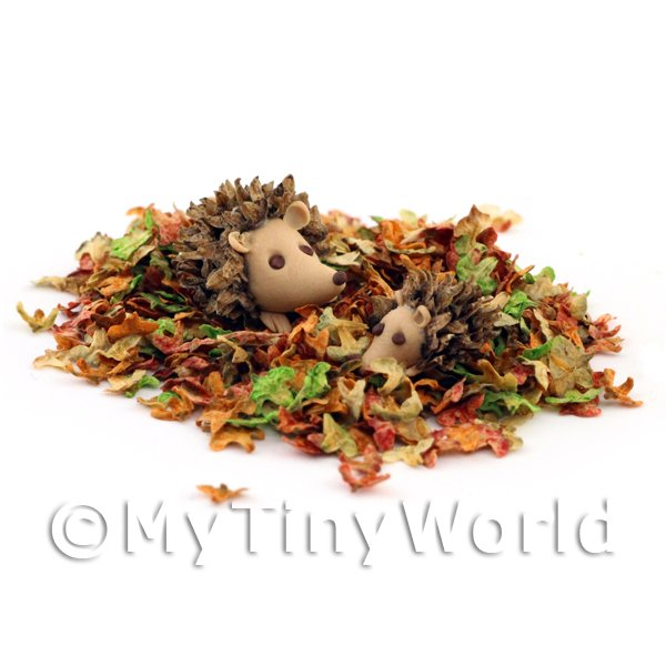 1/12 Scale Dolls House Miniatures  | Dolls House Miniature Leaves With Frolicking Hedgehogs