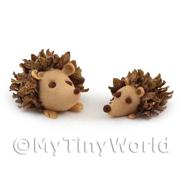 2 Dolls House Miniature Handmade Hedgehogs