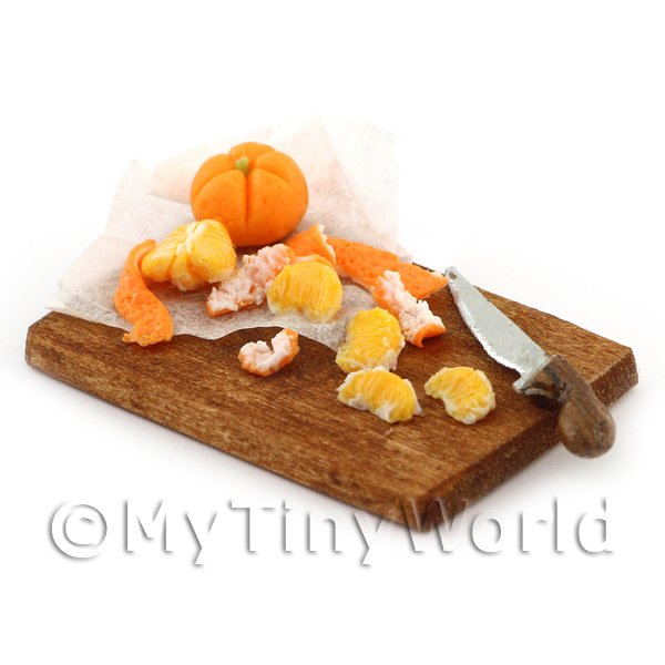 Dolls House Miniature - Dolls House Miniature Handmade Peeling Orange Board
