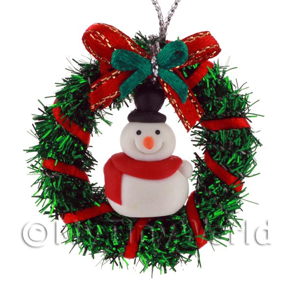 Dolls House Miniature Green Christmas Wreath With Snowman