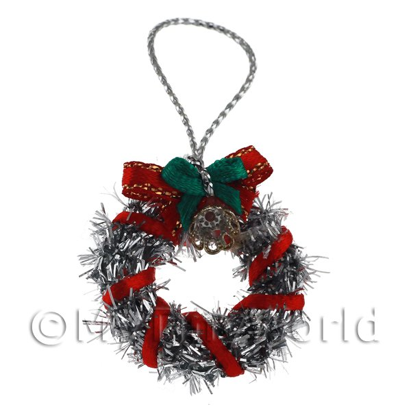 Dolls House Miniature  | Dolls House Miniature Silver Christmas Wreath With Bells