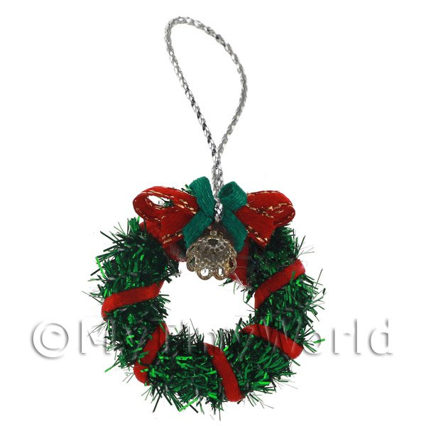 Dolls House Miniature Green Christmas Wreath Wreath With Bells