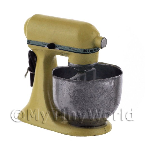 Dolls House Miniature  | Yellow Dolls House Miniature Old Style Batter / Dough Mixer