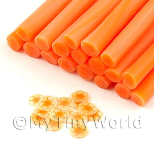 Dolls House Miniature  | Handmade Transparent Light Orange Flower Cane - Nail Art (11NC113)