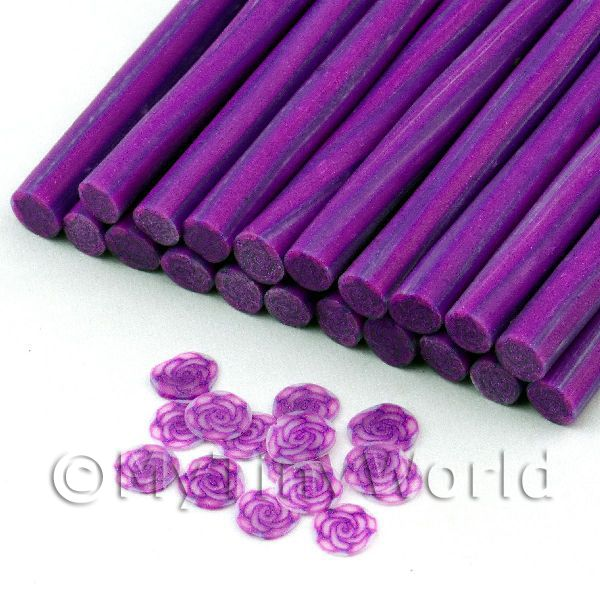 1 Purple Rose Cane With Glitter - Nail Art (11NC47)