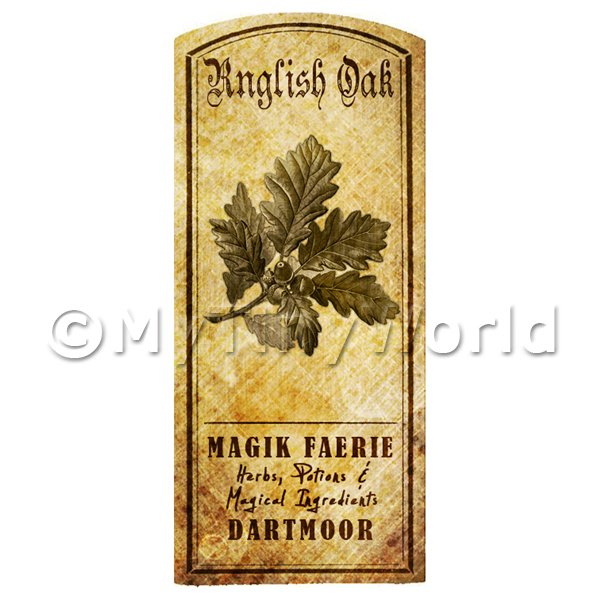 Dolls House Miniature  | Dolls House Herbalist/Apothecary English Oak Herb Short Sepia Label