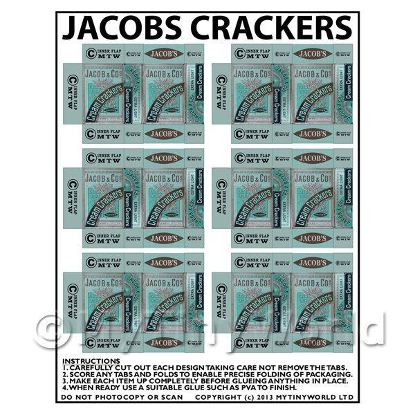 Dolls House Miniature Packaging Sheet of 6 Jacobs Crackers