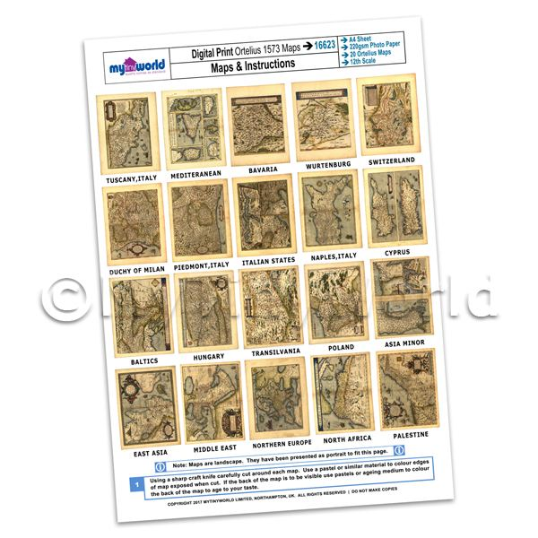 Dolls House Miniature  | Set Of 20 Dolls House Miniature Old Maps From 1573 - Set 2 A4 Value Sheet