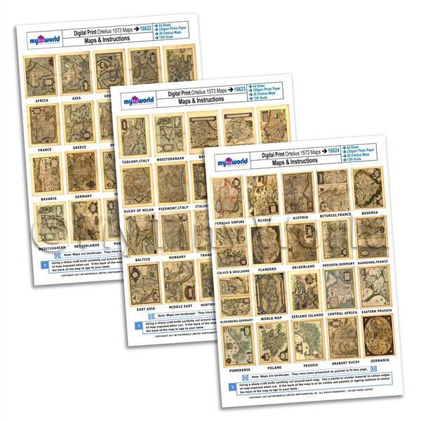 Full Set Of 60 Dolls House Miniature Old Maps From 1573 - A4 Value Sheets