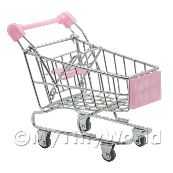 Dolls House Miniature Pink Shopping Trolley