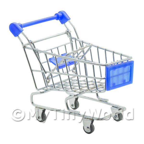 1/12 Scale Dolls House Miniatures  | Dolls House Miniature Blue Shopping Trolley