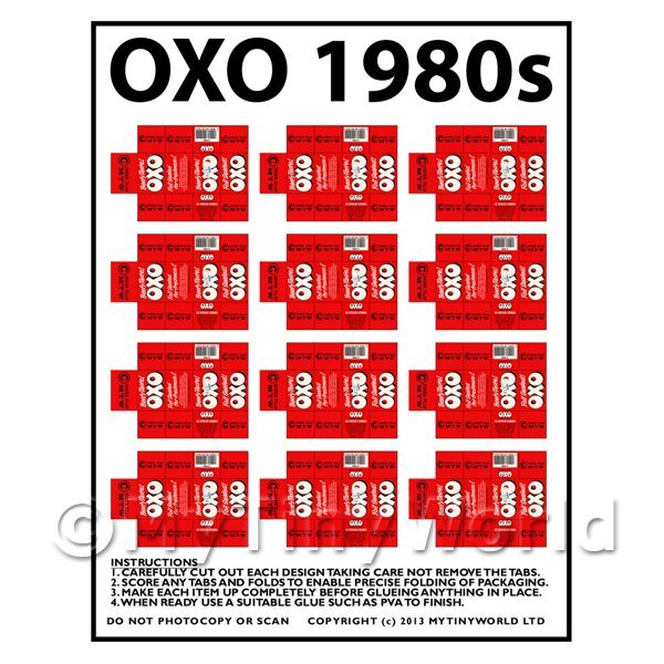 Dolls House Miniature Packaging Sheet of 12 OXO 1980s