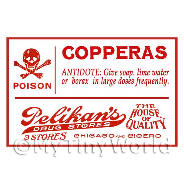 Dolls House Miniature Copperas Poison Label Style 1