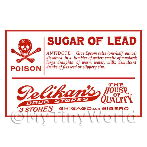 Dolls House Miniature Sugar of Lead Poison Label Style 1