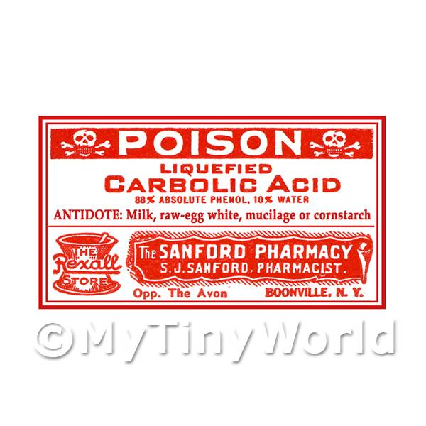 Dolls House Miniature Carbolic Acid Poison Label (S3)