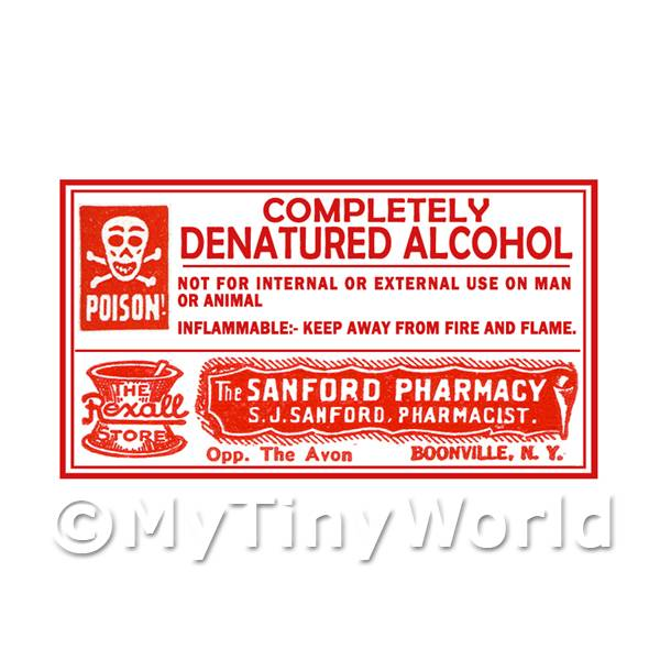Dolls House Miniature Denatured Alcohol Poison Label Style 4
