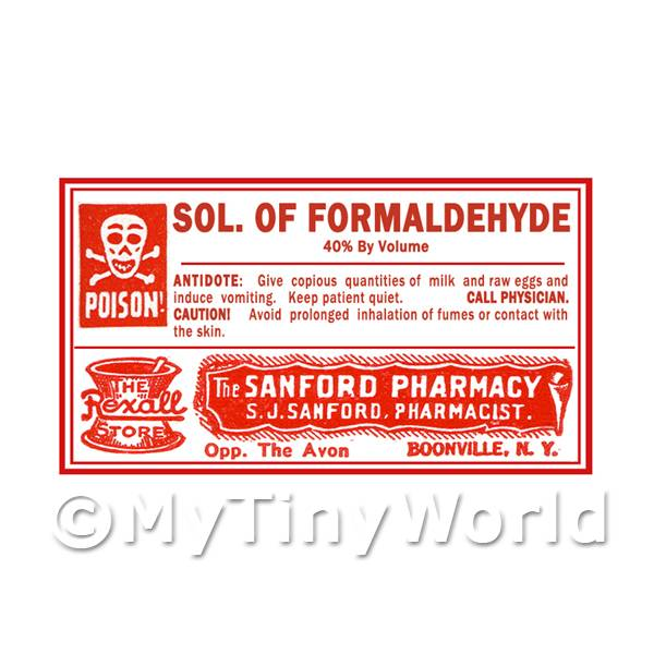 Dolls House Miniature Formaldehyde Poison Label Style 4