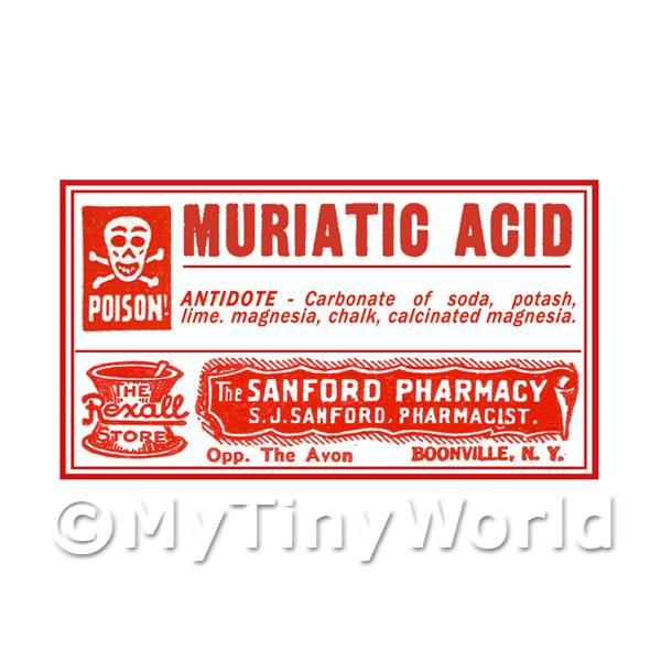 Dolls House Miniature  | Dolls House Miniature Muriatic Acid Poison Label Style 4