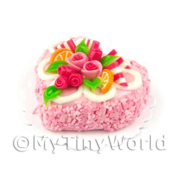 Dolls House Miniature  Pink Iced Rose Heart Cake