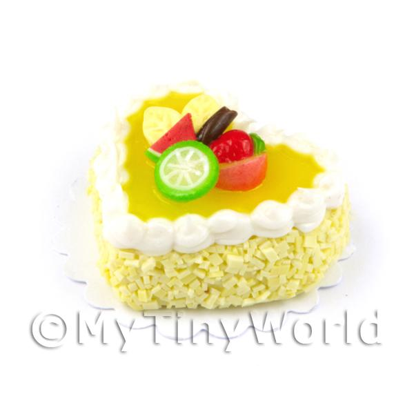 Dolls House Miniature Yellow Iced Fruit Topped Heart Cake