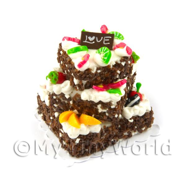 Dolls House Miniature  | Chocolate and Mixed Fruit topped Miniature Square Celebration Cake