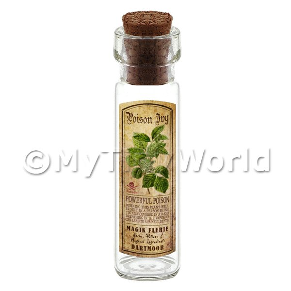 Dolls House Apothecary Poison Ivy Herb Long Colour Label And Bottle