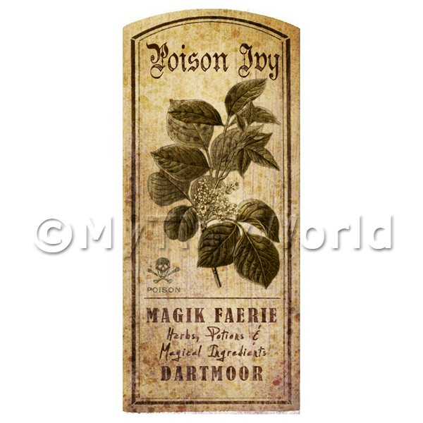 Dolls House Miniature  | Dolls House Herbalist/Apothecary Poison Ivy Herb Short Sepia Label