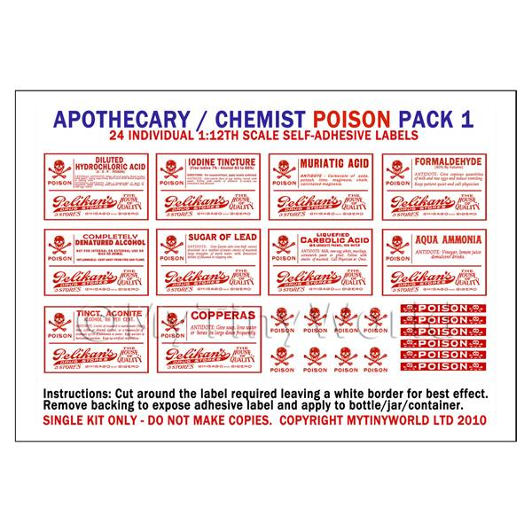 Dolls House Miniatures  | Dolls House Miniature Poison Label Pack 1