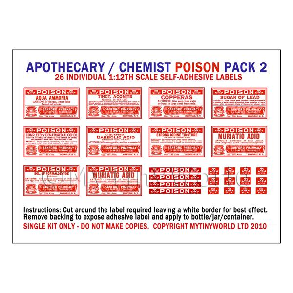Dolls House Miniatures  | Dolls House Miniature Poison Label Pack 2
