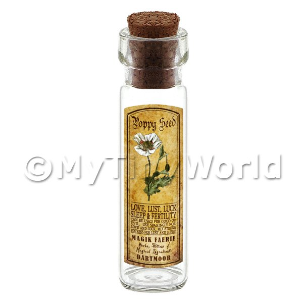 Dolls House Apothecary Poppy Seed Herb Long Colour Label And Bottle