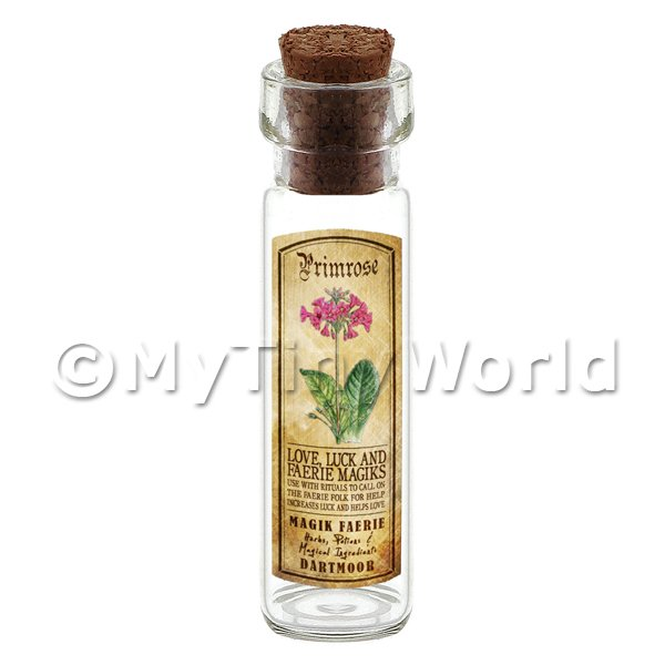 Dolls House Apothecary Primrose Herb Long Colour Label And Bottle