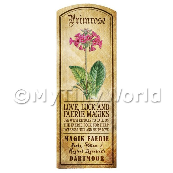 Dolls House Miniature  | Dolls House Herbalist/Apothecary Primrose Herb Long Colour Label