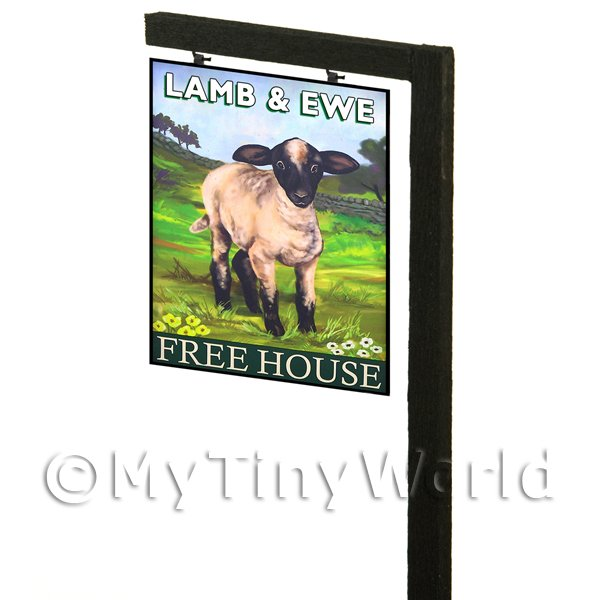 Free Standing Dolls House Pub / Tavern Sign - Ewe And Lamb