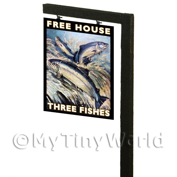 Free Standing Dolls House Pub / Tavern Sign - The Three Fishes
