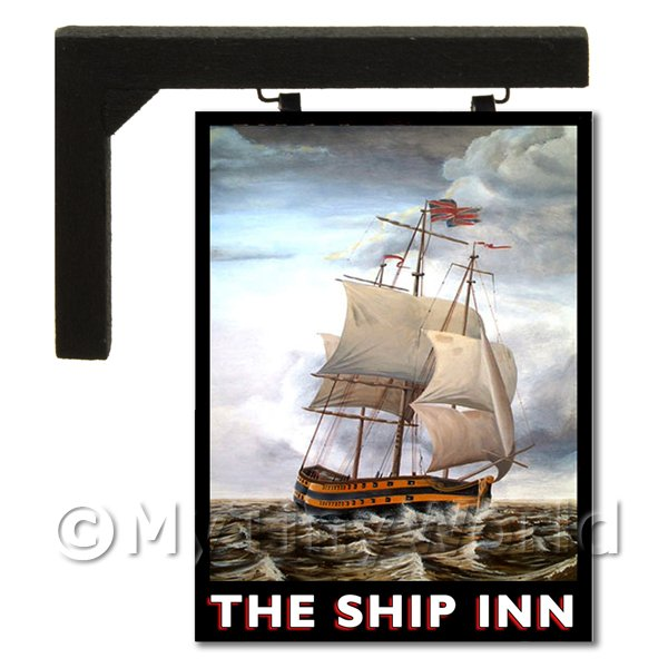 Dolls House Miniature  | Wall Mounted Dolls House Pub / Tavern Sign - The Ship Inn