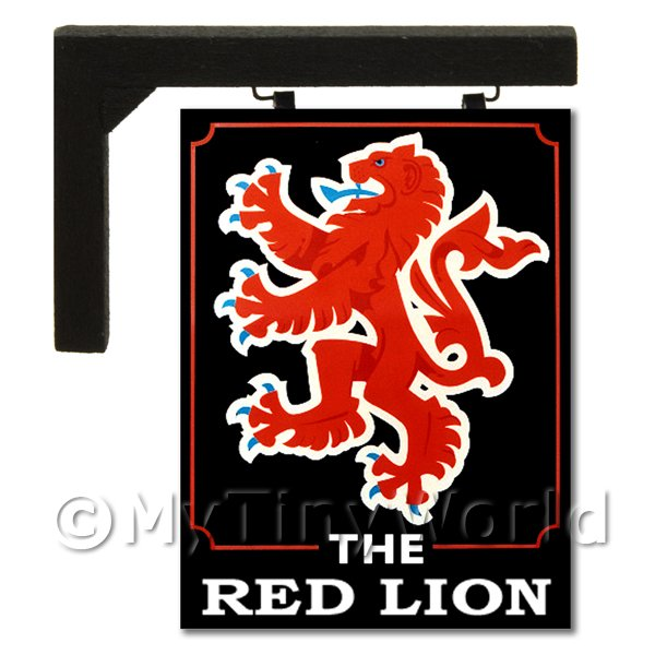 Dolls House Miniature  | Wall Mounted Dolls House Pub / Tavern Sign - Red Lion