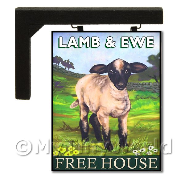 Dolls House Miniature  | Wall Mounted Dolls House Pub / Tavern Sign - Ewe And Lamb
