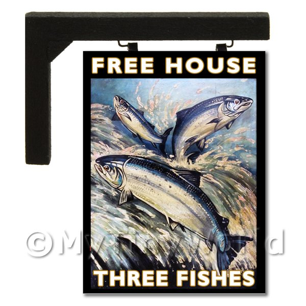 Wall Mounted Dolls House Pub / Tavern Sign - The Three Fishes