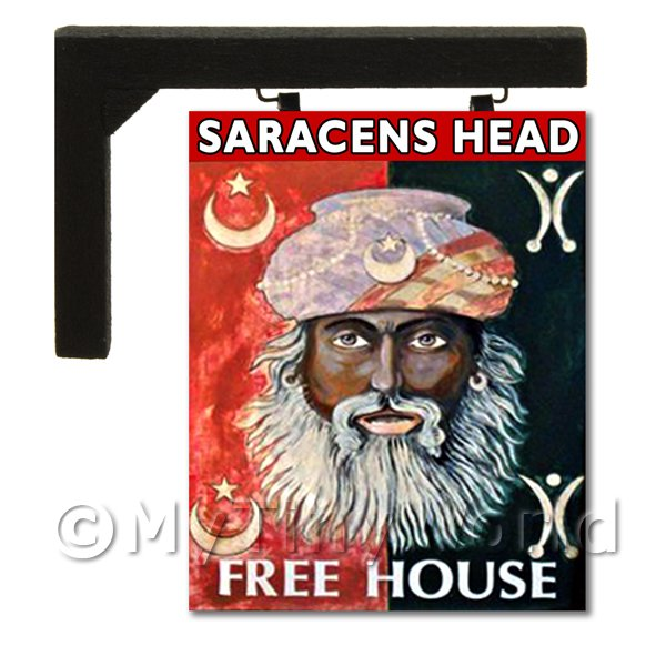 Wall Mounted Dolls House Pub / Tavern Sign - Saracens Head